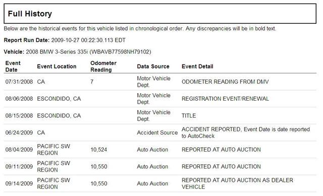 2008 BMW 335i AutoCheck fullhistory