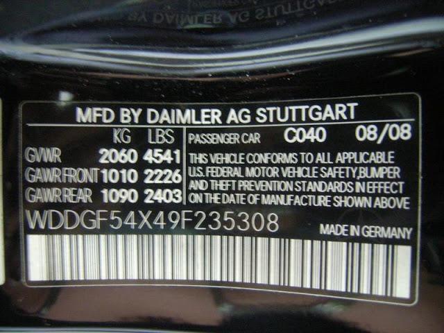 VIN 2009 Mercedez-Benz C300